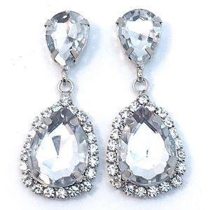 Clear Acrylic Crystal Drop Earrings